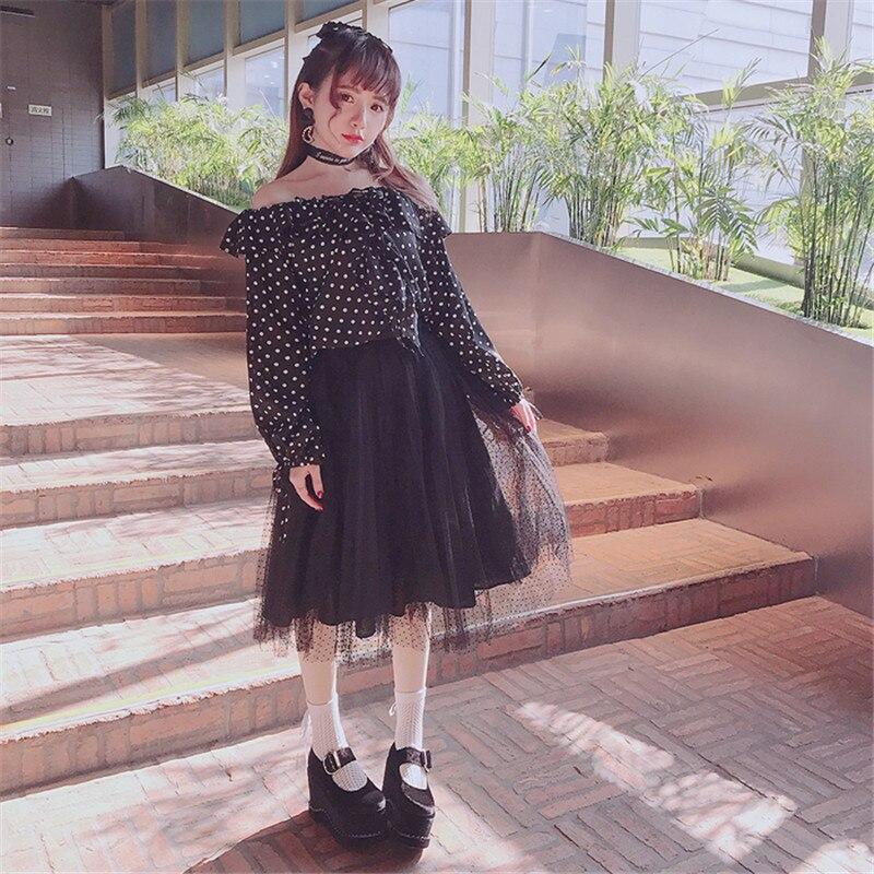 B1587 Plisado Soplo Mujeres Peng Gasa b1587 Princesa Lolita Dot Multicapa Keqi Rosa Bobon21 B1587 Perfecto De Polka Falda Dulce 8TgqwxqF