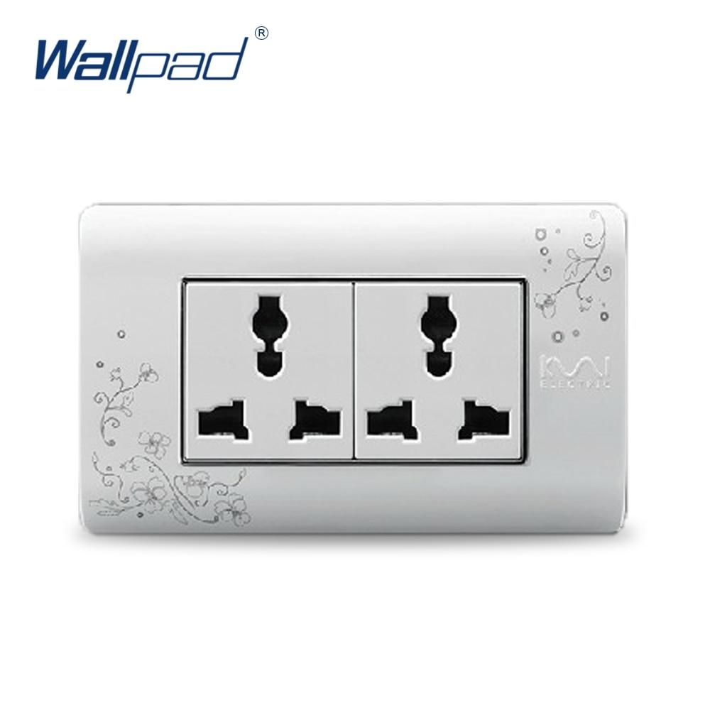 2018 Hot Sale 6 Pin Multifunction Socket Wallpad Luxury Wall Switch Panel Plug Socket 118*72mm 10A 110~250V free shipping wallpad luxury wall switch panel 6 gang 2 way switch plug socket 197 72mm 10a 110 250v