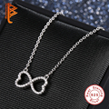 Luxury Austrian Crystal Infinity Heart Charm Necklace 925 Sterling Silver Long Chain Pendant Necklace for Women Fashion Jewelry