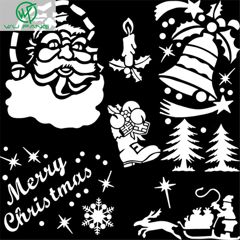 Merry christmas glass snow spray template pattern snowman for Decor 6 template