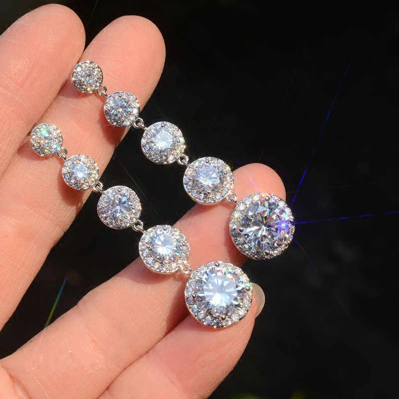 New Fashion Female Crystal Round Drop Earrings With AAA Zircon 925 Sterling Silver Boho Wedding Jewelry Long Dangle Earrings