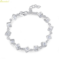 HOT Brand Women Fashion Silver Plated Charm Box Crystal Chain Bracelet Bangle