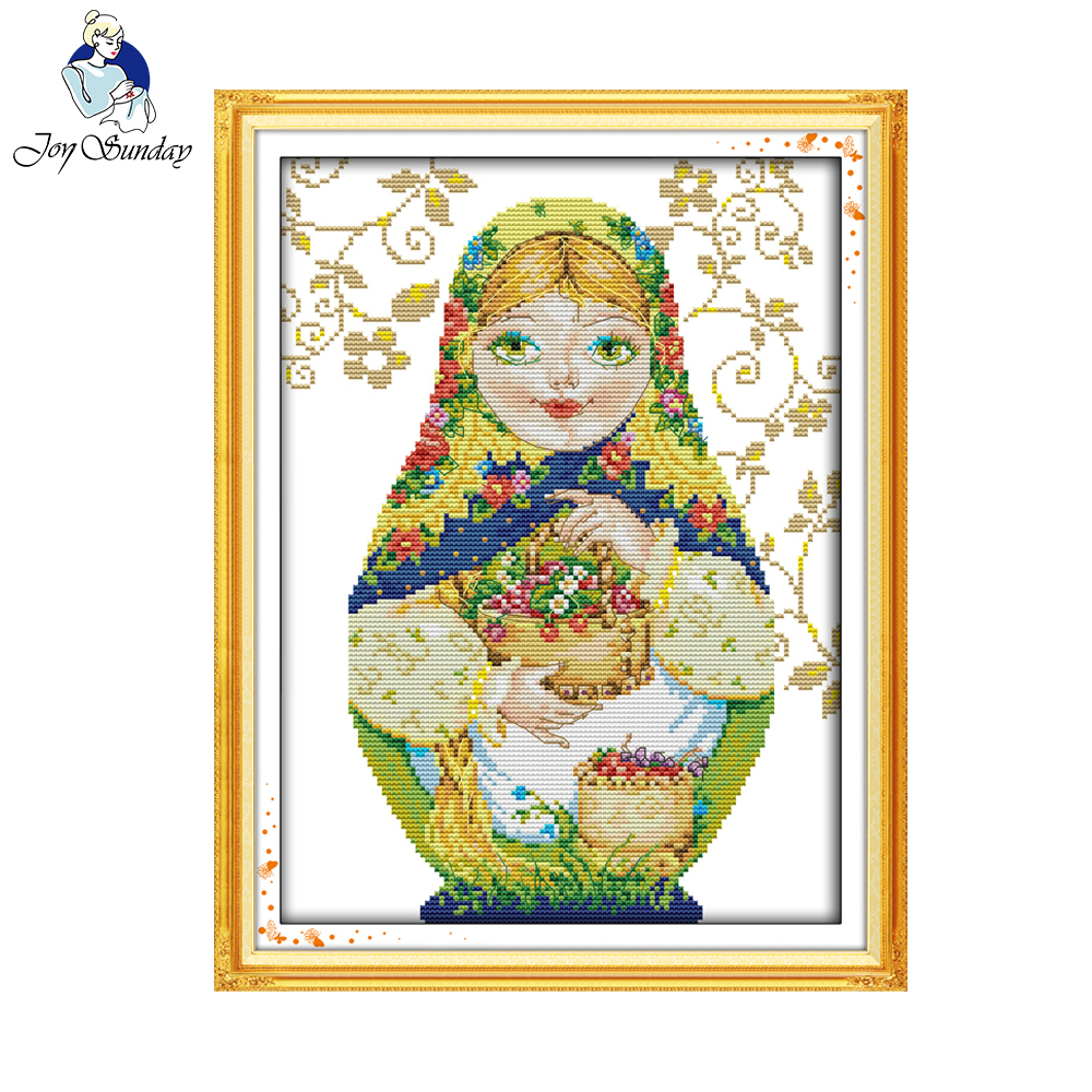 Joy Sunday Russian Doll China Cross Stitch Diy Handarbete Räknat Print Cross Stitch Kit för broderi Cross Craft Cross Stith