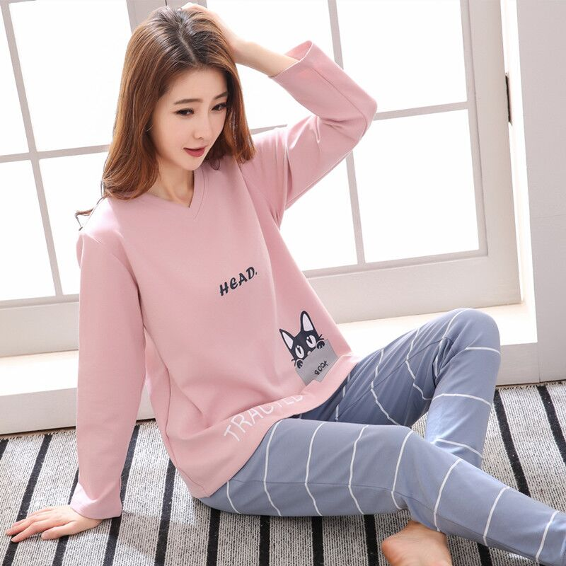 2pcs/set ,Nightdress Women Girls Pure 100% Cotton Long Sleeve T-shirt Pants Set Pajamas Female Spring Autumn Sleepwear Nightgown
