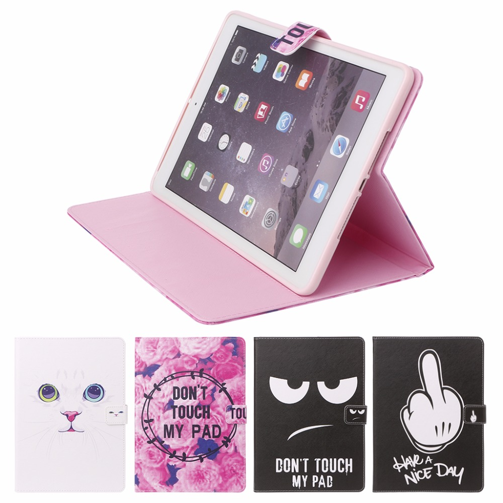 1PC Faux Leather Flip Folio Stand Case Auto Sleep/Wake Up Cover Colorful Painting For iPad Air Air2 9.7 For Pro 10.5 case for ipad air 2 air 1 five shapes ultra thin pu leather flip stand tpu soft back cover for ipad 5 6 auto sleep wake a4243