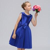 Retail moda elegante solapa perla niños Año nuevo vestido con arco drapeado estilo occidental Niñas Noche del partido l569