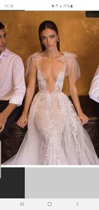 Image 2 - High end Beach Wedding Dresses 2019 long sleeves color Court Train Lace Custom Made See though back Button HK035
