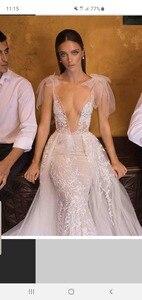 Image 2 - High end praia vestidos de casamento 2019 mangas compridas cor tribunal trem laço feito sob encomenda ver embora botão traseiro hk035