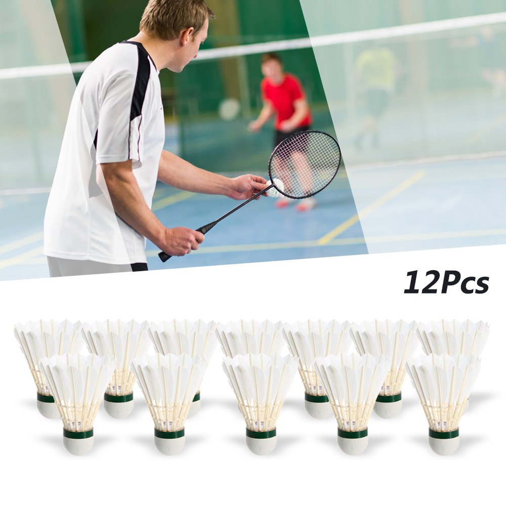 12Pcs Goose Feather Badminton Shuttlecocks Flying Stably Durable For Outdoor Sports Competition Resistance Training Badminton