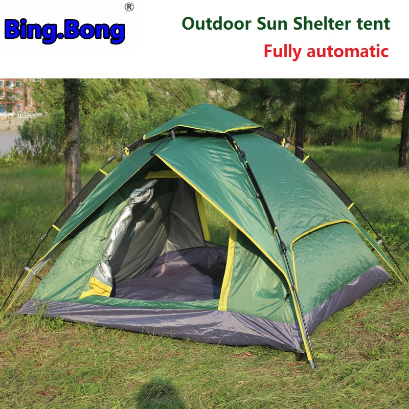 Outdoor Sun Shelter tent 3-4 fully automatic two-layer tarp double tents picnic awning rainproof camping toldo beach tent gazebo new arrival fully automatic two hall 6 8 person double layer camping tent against big rain large family outdoor tent 190cm high