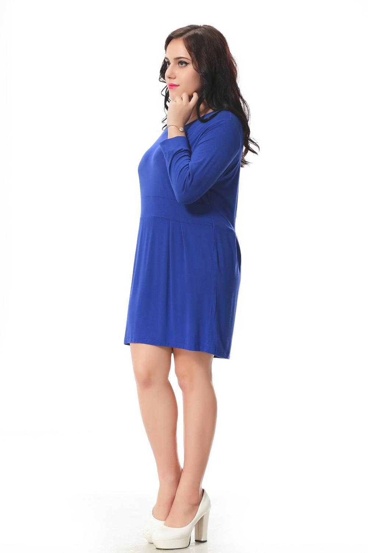 Plus Size donne del vestito Dritto con manicotto dei tre quarti disegno blu  vestito casuale con piega in vita 3xl 6xl autunno inverno 006 in Plus Size  donne ... 6442bf96005