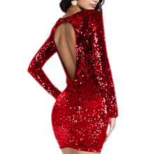 Women's Sparkle Dress Glitzy Glam Sequin Long Sleeve Flapper Party Club Sexy Dress Party women clothes 2018 vestidos mujer 2018