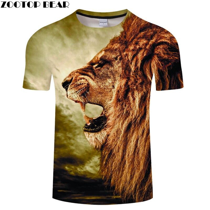 Lion Head Digital 3D Print t shirt Men Women tshirts Summer Casual Short Sleeve O-neck Tops&Tee Streetwear Drop Ship ZOOTOP BEAR