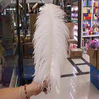 パーフェクト! 50ピース/ロット美しい白いダチョウの羽40〜45センチ/16〜18インチ、結婚式の羽の装飾