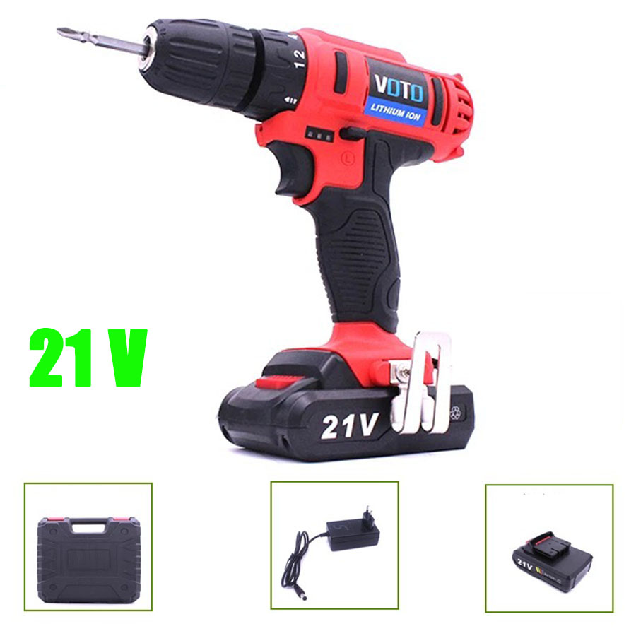 VOTO Battery Rechargeable Cordless Drill Electric Screwdriver Set With Case Lithium Power Tools Screw Gun Driver 21V RED цены онлайн