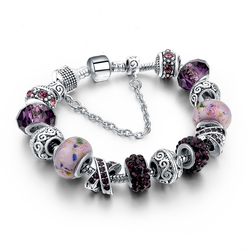 CHICVIE Black Crystal Chain Link Bracelets For Women Female Charm Custom Bracelets & Bangles DIY Silver Color Jewelry SBR160014 27