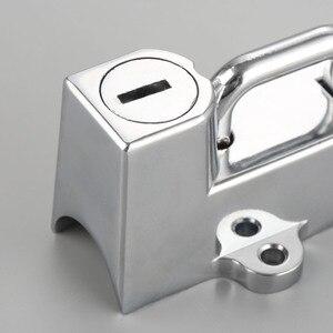 "Image 5 - دراجة نارية خوذة قفل مع 2 مفاتيح ل كروم أسود 22 مللي متر 7/8 ""أنبوب للدراجات النارية العالمي اكسسوارات"