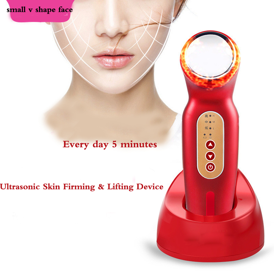 Ultrasonic Facial Care Machine Face Slimming Lift Cheek Instant Small V Shape Face Beauty Skin Care Heating Therapy Device