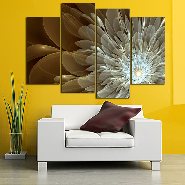 Aliexpress.com : Buy 4 Panel Abstract Flower Canvas Wall Art Gold ...