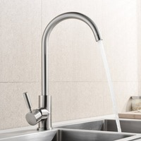 Brushed Nickel Stainless Steel Kitchen Bar Sink Faucet Hot And Cold Water Single Handle 360 Degree