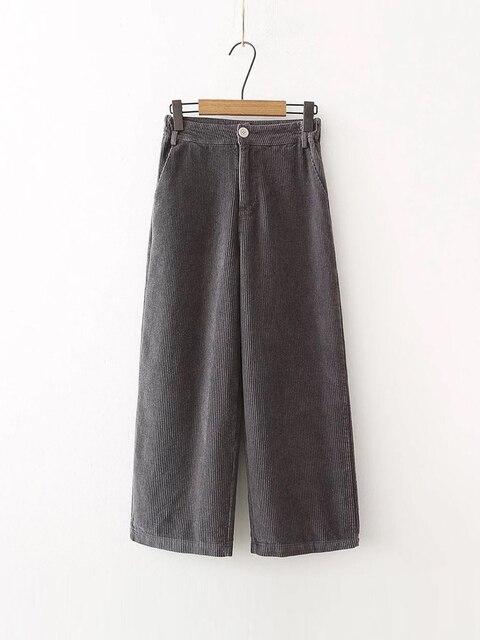 corduroy Pants For Women add velvet thicken Trousers Loose Wide leg Pant Casual Female black Pants Bell Bottom Pants Trouser