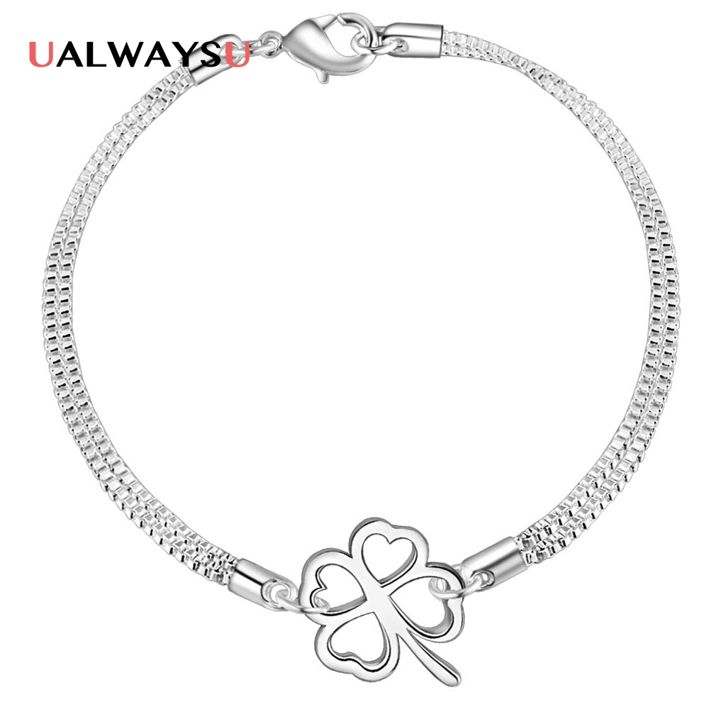 Wholesale fashion silver 925 stamped bracelet chain clover