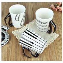 Klaviertastatur Musik Tasse Musical Mitarbeiter Becher Keramik Wasserbecher Kaffeetasse mit Deckel Kreative Geschenk