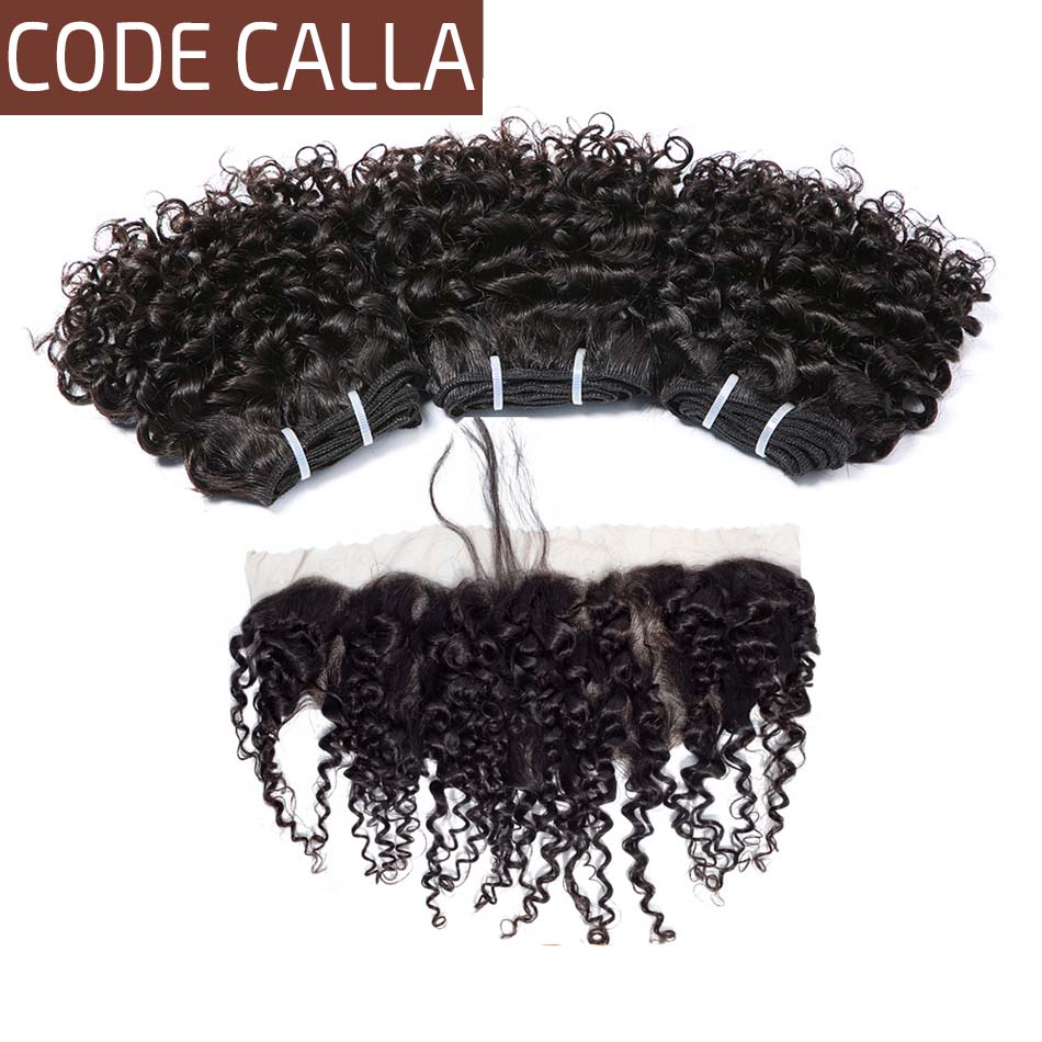 Code Calla Kinky Curly Double Drawn Brazilian Remy Human Hair Extensions 35g Bundles With 13*4 Frontal Closure Can Make A Wig