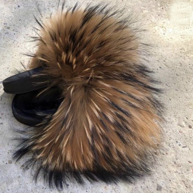 2019 Rass Ple Wholesale Kids Real Fox Slippers Cute Raccoon Slides Fluffy Slippers Toddler Baby Girls Shoes Summer Flip Flops