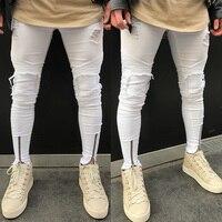 White Jeans Men Pants Men S Slim Skinny Runway Straight Elastic Denim Pants Destroyed Ripped Jeans