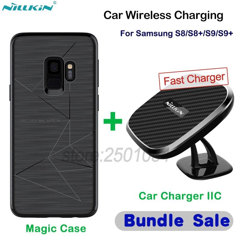 NILLKIN 10 W voiture magnétique Qi sans fil rapide chargeur support pour téléphone voiture sans fil charge pour Samsung Galaxy S8 S9 Plus + étui magnétique