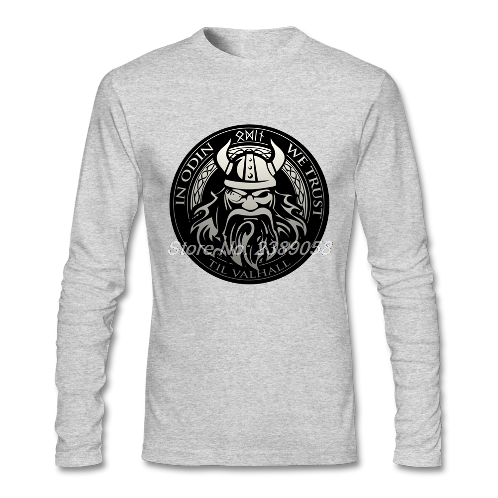 Newest Men Create a Shirt Vikings Sons of Odin Cheap Brand Valhalla Clothing Crew Neck Long Sleeve T shirt Men