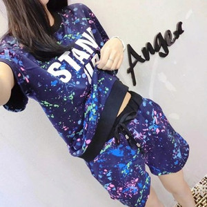 2019 New Summer Women Set Short Sleeve Printed T Shirt + Shorts Sweat Suits Set Women Tracksuits Camouflage Two Piece Sets