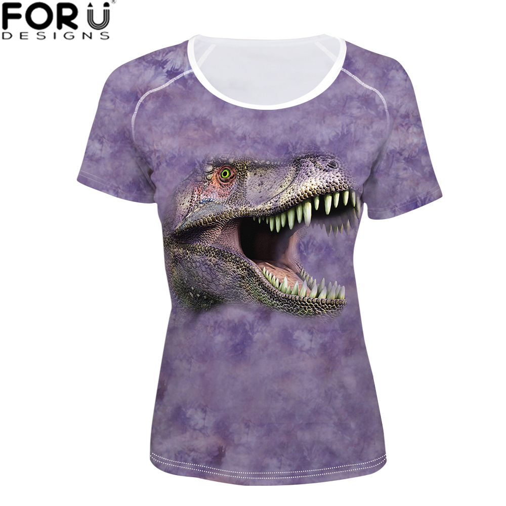 FORUDESIGNS t shirt Women Harajuku O Neck Clothing Female for Summer Dragon T Kawaii Girls 3D Animal Tops S
