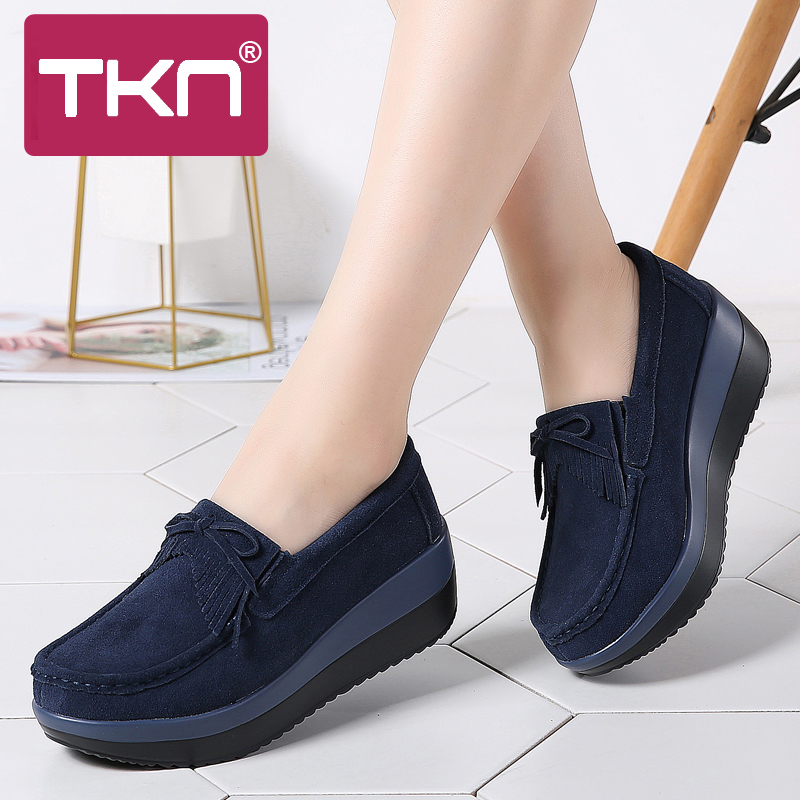 TKN 2019 Spring Women Platform Sneakers Shoes   Leather     Suede   Fringe Thick Sole Creepers Moccasins Chaussures Femme Woman 288