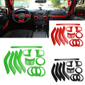 ABS Chrome Steering Wheel Trim Air Condition Vent Interior Accessories Door Handle Cover Kits For Jeep Wrangler JK