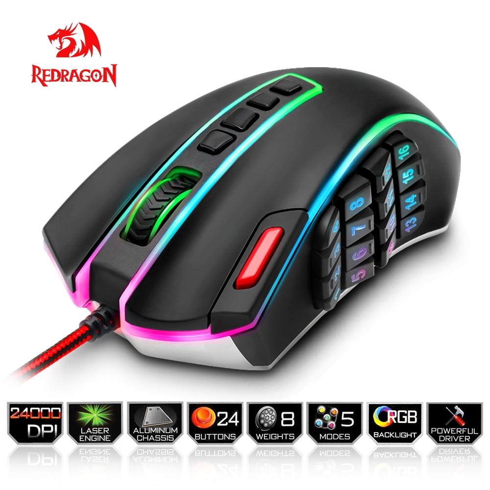Redragon USB filaire RGB Gaming Souris 24000 DPI 24 boutons laser programmable jeu souris rétro-éclairage ergonomique pour ordinateur portable