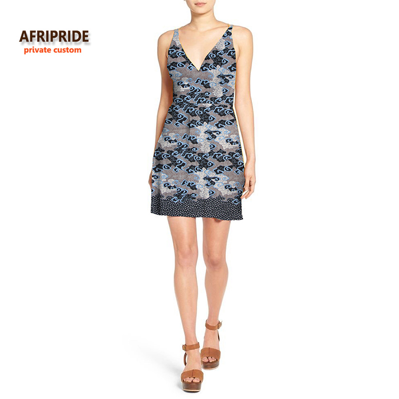 2018 NEW AFRIPRIDE private custom summer dress for women V neck above knee loose pure cotton