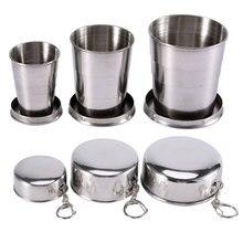 Бытовая 60 мл 150 мл 250 мл Складная чашка из нержавеющей стали для кемпинга Портативная Складная чашка с брелком для путешествий