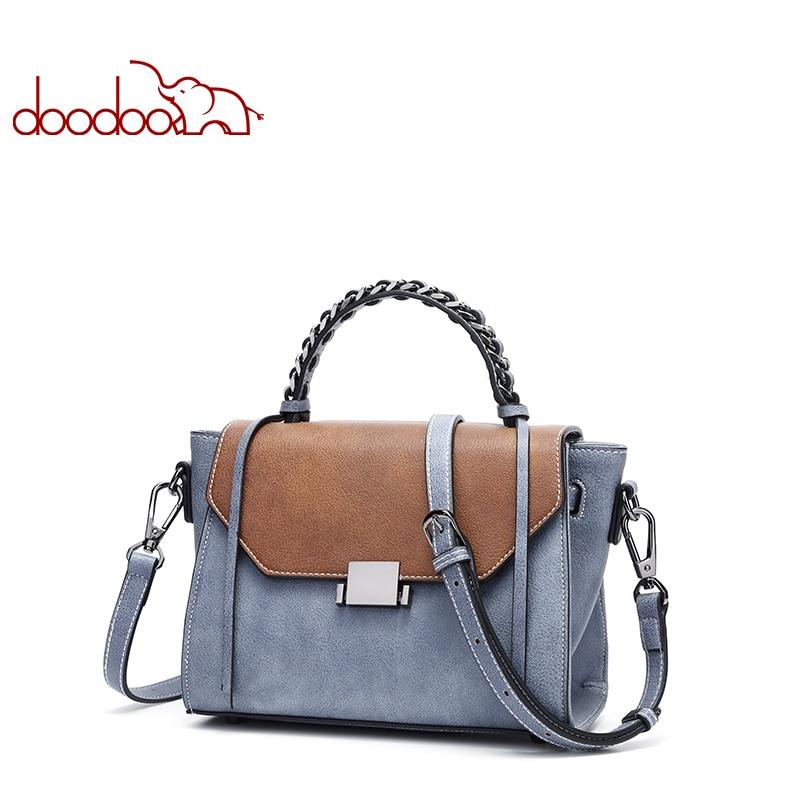 DOODOO Brand Women Handbags Female Shoulder Messenger Bags Artificial Leather Top handle Bag Tassel Match Color