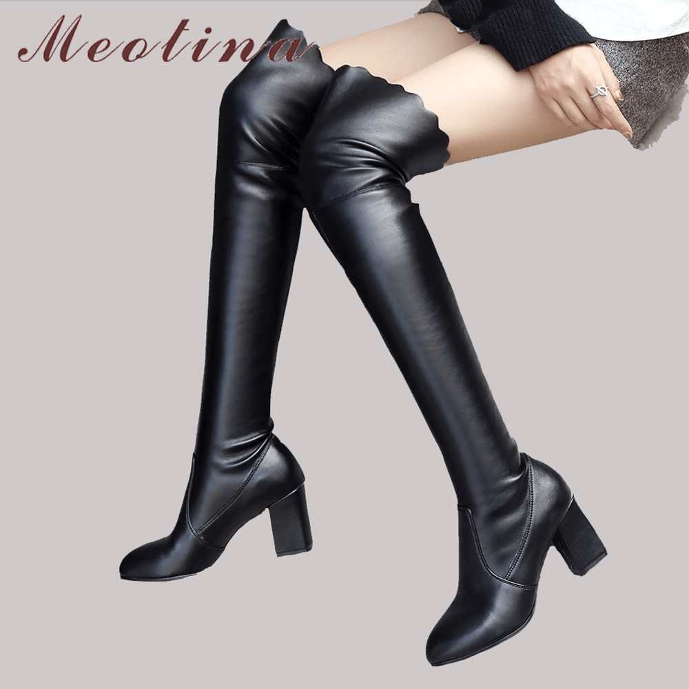 Meotina Thigh High Boots Women Shoes Winter Ruffles Over the Knee Boots Square High Heel Long Boots Sexy Slim Shoes Plus Size 43 цена