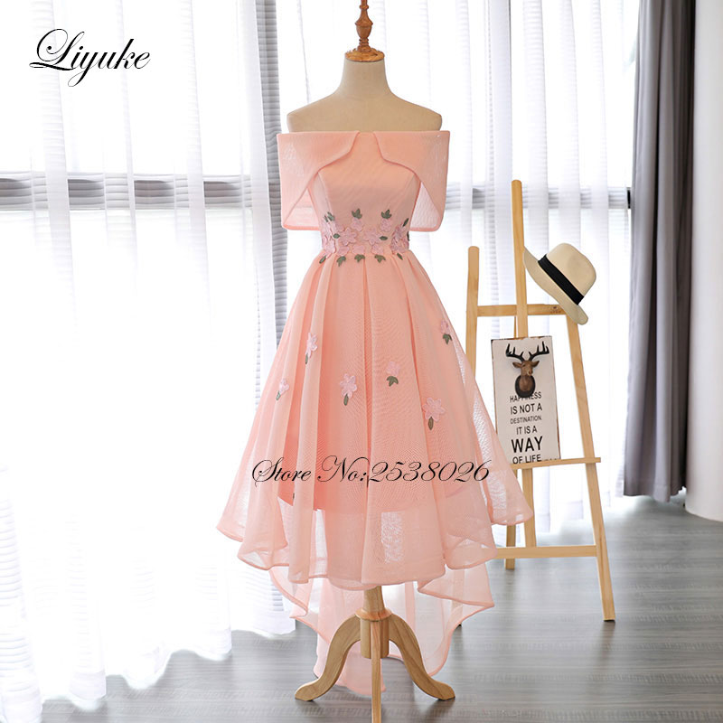 Liyuke Pink Prom Dress Strapless A Line Ruched Party Dress Knee
