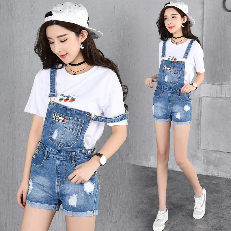 2017 Summer Style Denim Shorts Plus size Korean Style Womens Jumpsuit Denim Overalls Casual Girls Roll-up Hem Pants Jeans Short 2014 new fashion reminisced men vintage trousers casual jeans wash capris pants loose plus size overalls zipper denim jumpsuit