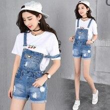 2017 Summer Style Denim Shorts Plus size Korean Style Womens Jumpsuit Denim Overalls Casual Girls Roll-up Hem Pants Jeans Short