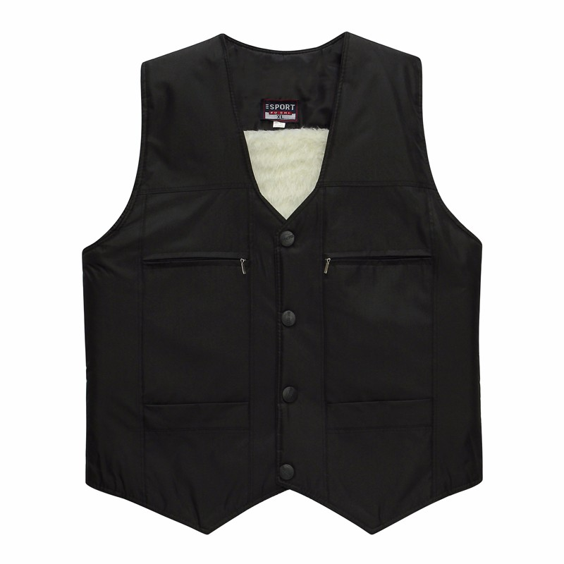 Man Elegant Herringbone Vest Elderly Men\'s Black Gilet Thicken Warm Fleece Vests Male Slim Fit Waistvest Sleeveless Coat XL 2XL