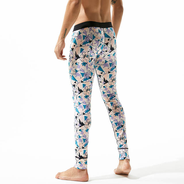 Hot Winter Men Fashion sexy Long Johns Cotton Thermal Underwear Printed WarmTight Single Long Leggings Pants High Quality