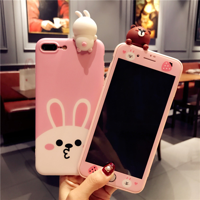 For iPhone 7 7Plus 3D Cartoon Rabbit phone case + Tempered g flim For iphone 6 6S 6P 6Splus 8plus Bear Soft case back cover