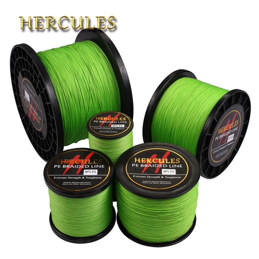 Hercules Fluorescent Yellow Green PE 100-1000M Braided Fishing Line 4 Strands