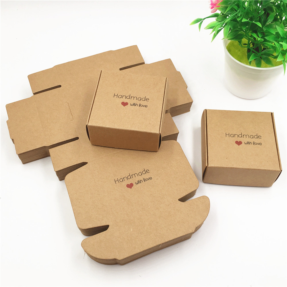 50pcs/lot 2017 New Hand Made With Love Kraft Soap Bar Paper Gifts Box  For Decoration Vintage Favors And Packing Gift