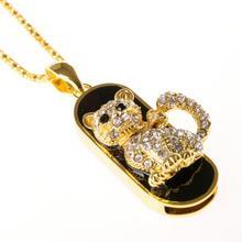 Animal Jewelry Usb 1TB Flash Drive Cat Necklace 32gb 64gb Crystal Pen Drive 2TB Pendrive Crystal Gift Gadget Usb Memeory 128GB